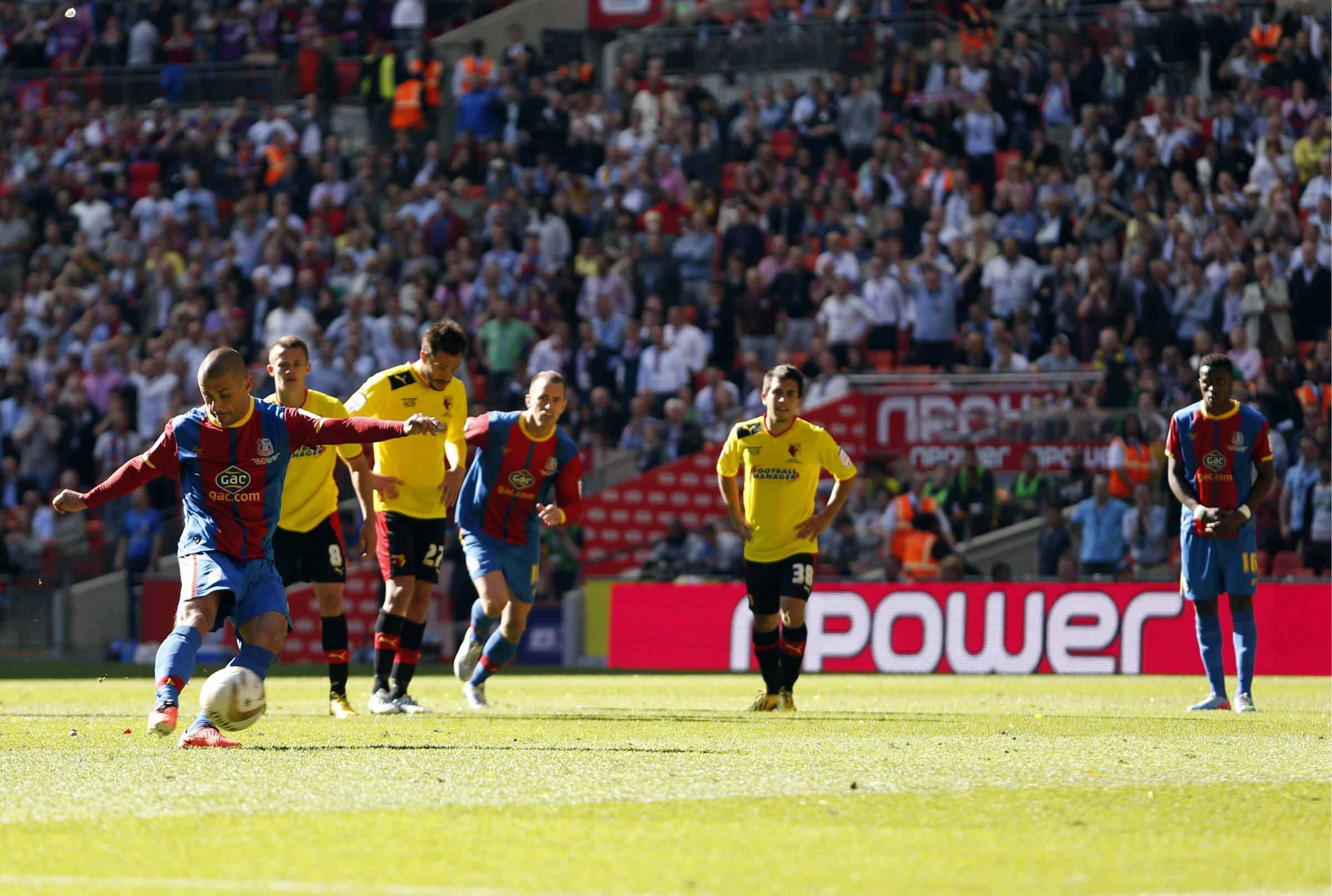 Kevin Phillips scoring against his first professional club in last season's Championship Play-Off final. Picture: Action Images