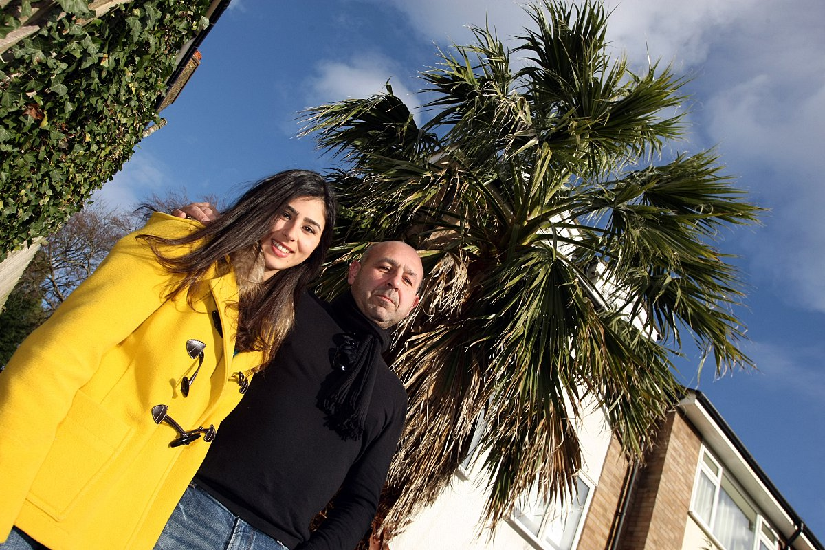 Jean-Marc Agius with daughter Melissa Agius and the huge palm