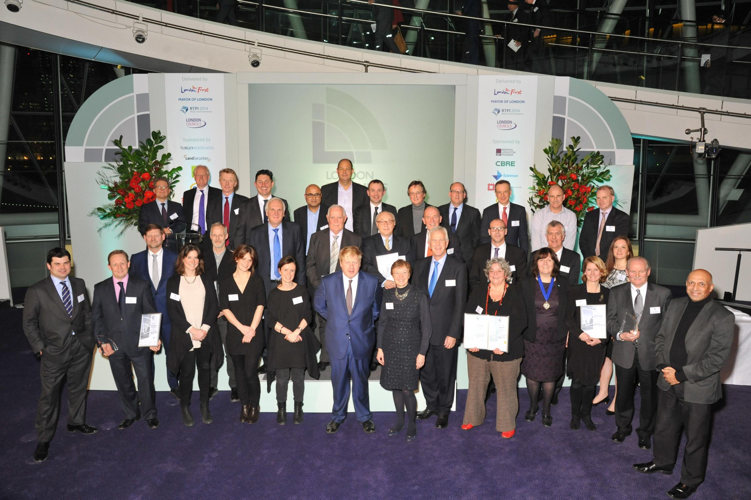Award winners with London Mayor Boris Johnson.