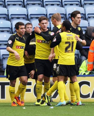 Sean Murray congratulated after scoring for Watford earlier this season. Picture: Action Images