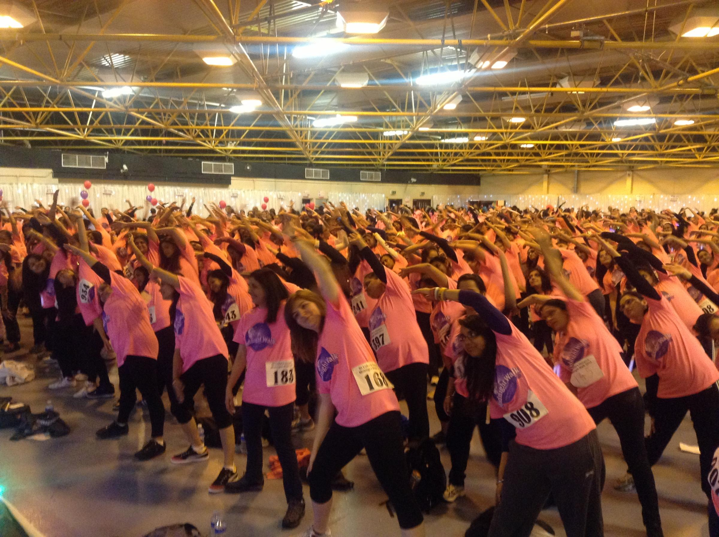 The warm up at Harrow Leisure Centre before last year's walk