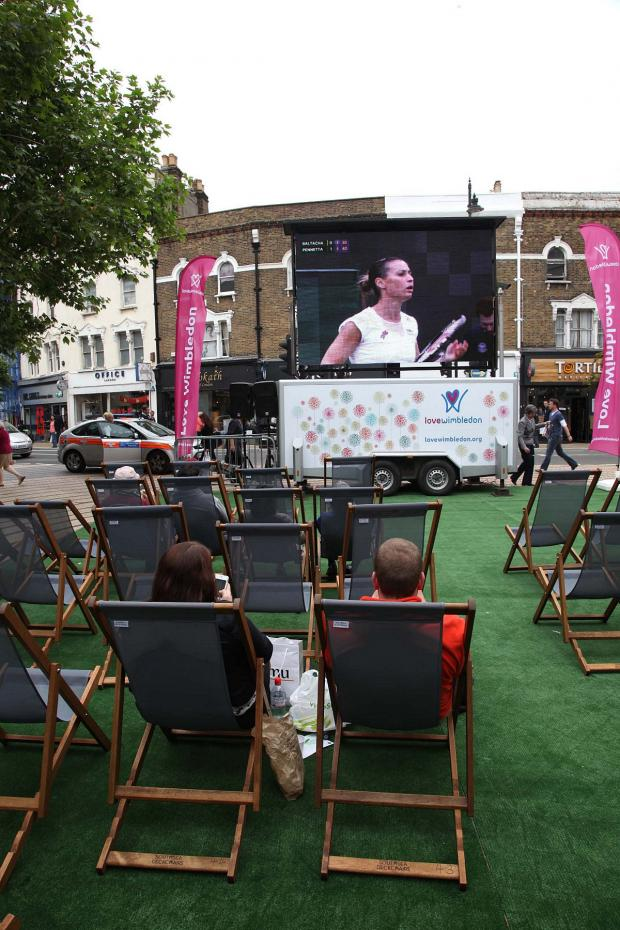 This Is Local London: Wimbledon tennis was aired in the Piazza last year