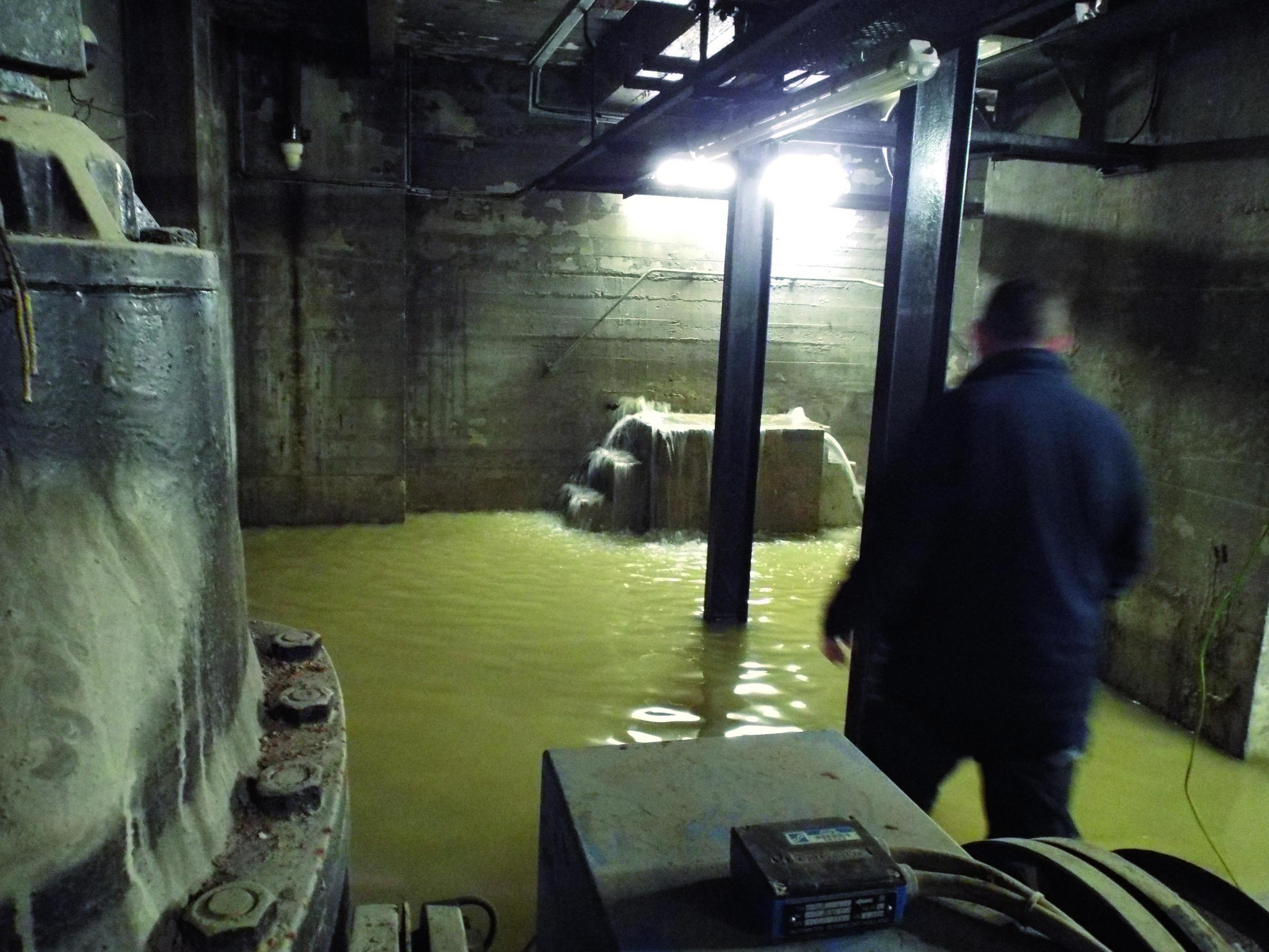 Flooding nearly engulfed high voltage transformers at Leatherhead Pumping Station on Christmas Eve