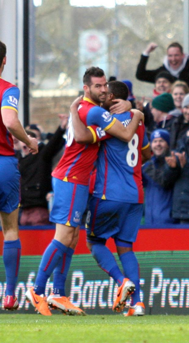 This Is Local London: Brothers in arms: Joe Ledley celebrates a debut goal with Tom Ince in the 3-1 win over West Brom           SP81781