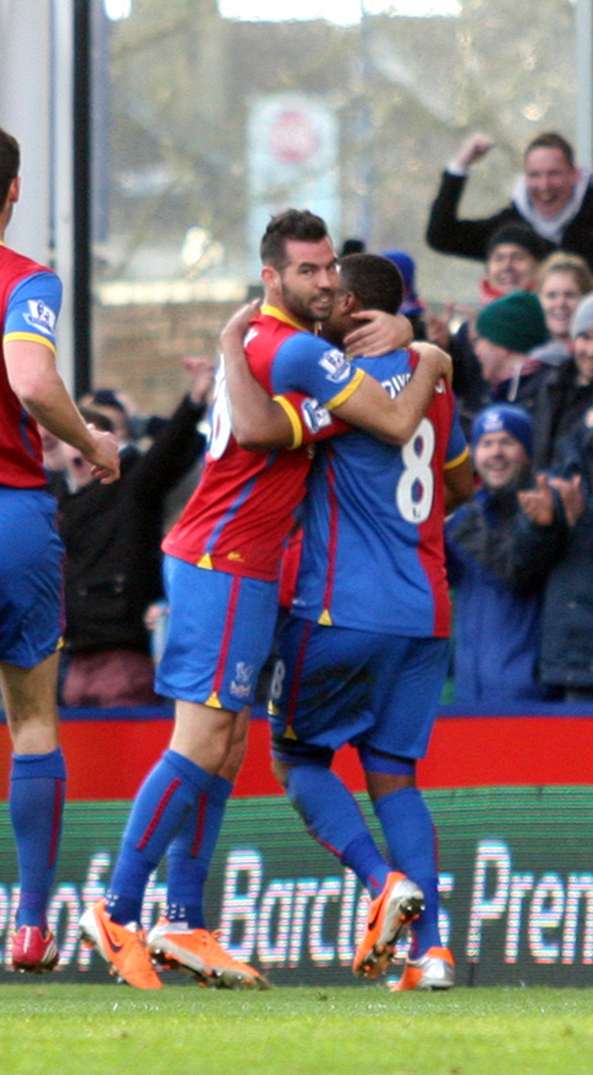 Brothers in arms: Joe Ledley celebrates a debut goal with Tom Ince in the 3-1 win over West Brom           SP81781