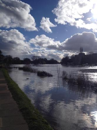 Flooding at Teddington Weir. Picture: Olivia Young