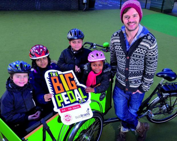 Blue Peter presenter Barney Harwood with cycling champions from Albemarle Primary School, Southfields