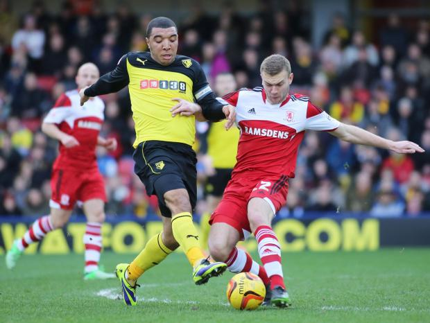 Watford's Troy Deeney competes with Middlesbrough's Ben Gibson. Picture: Action Images