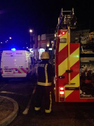 Firefighters and police at the of a crash in Muswell Hill. Photo taken by Haringey Police