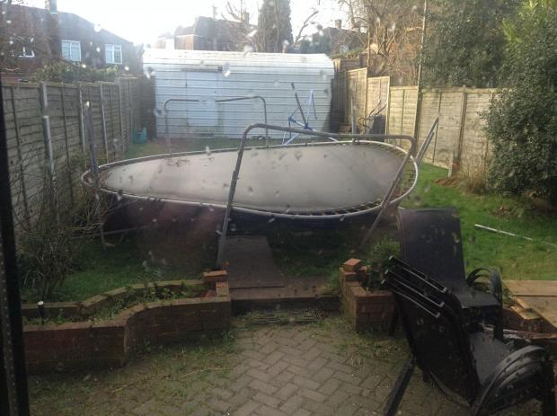 The trampoline blew into the garden of Stephen Chambers on Friday night.