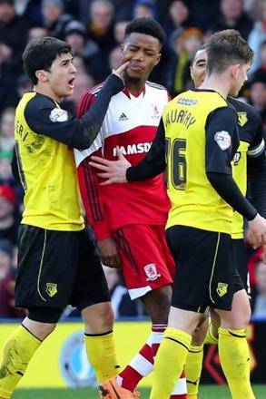 Fernando Forestieri squaring up to former team-mate Nathaniel Chalobah on Saturday. Picture: Dave Peters.
