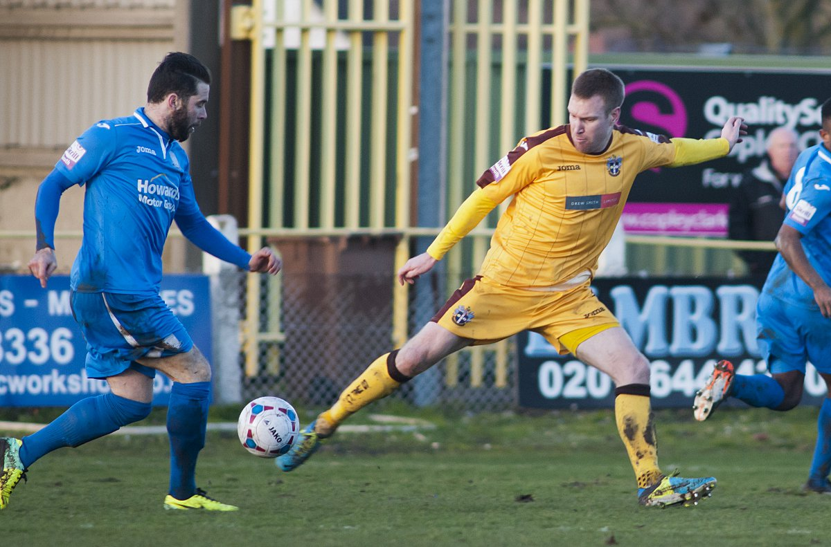 In action: Rhys Weston in the golden colours of Sutton United during the 3-0 win over Weston-super-Mare on Saturday      SP83097