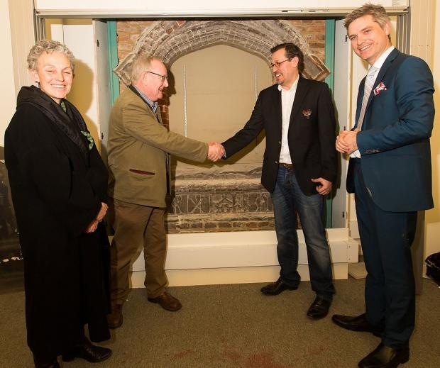 This Is Local London: The unveiling of the stone at UCL, pictured L-R  Director of Museums and Public Engagement,UCL, Sally MacDonald, Dr Negley Harte, UCL, Chris Mazeika from Deptford Is community group and Dr Jonathan Foyle
