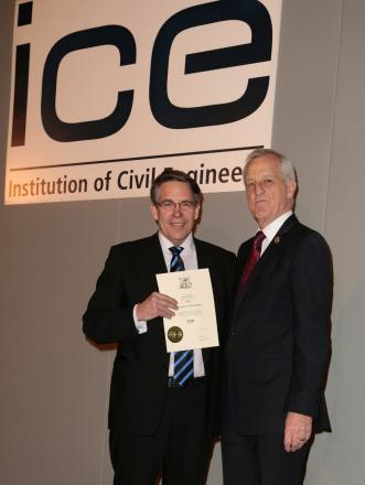 New Fellow: Lennart Stenman, left, receives his award from prfesident Geoff French