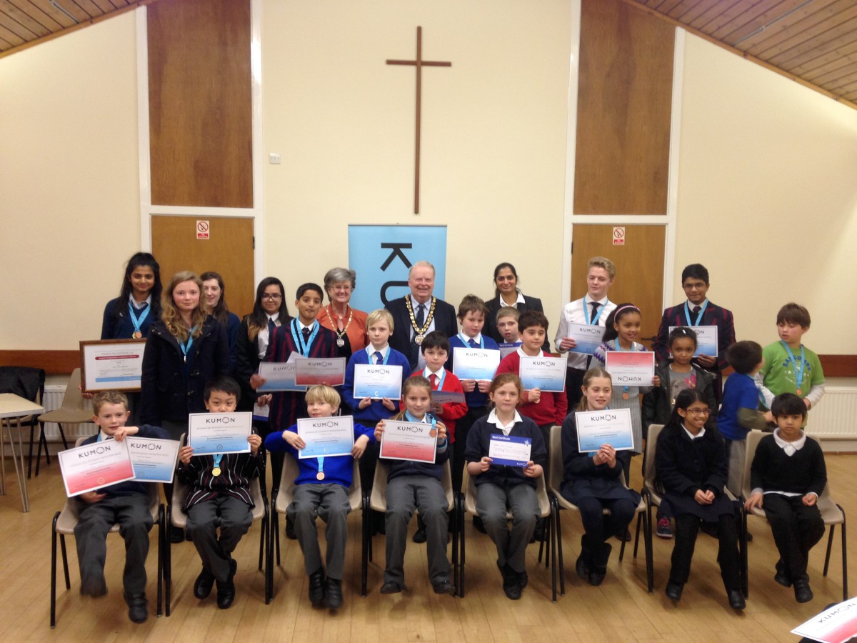 Well done: The pupils got their prizes off Councillor