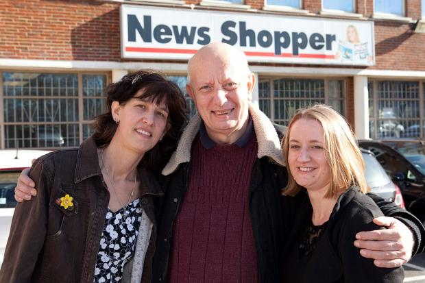 Steve Hattrill, pictured with Leonie Parker- Hann, 43, and Claire Smith.