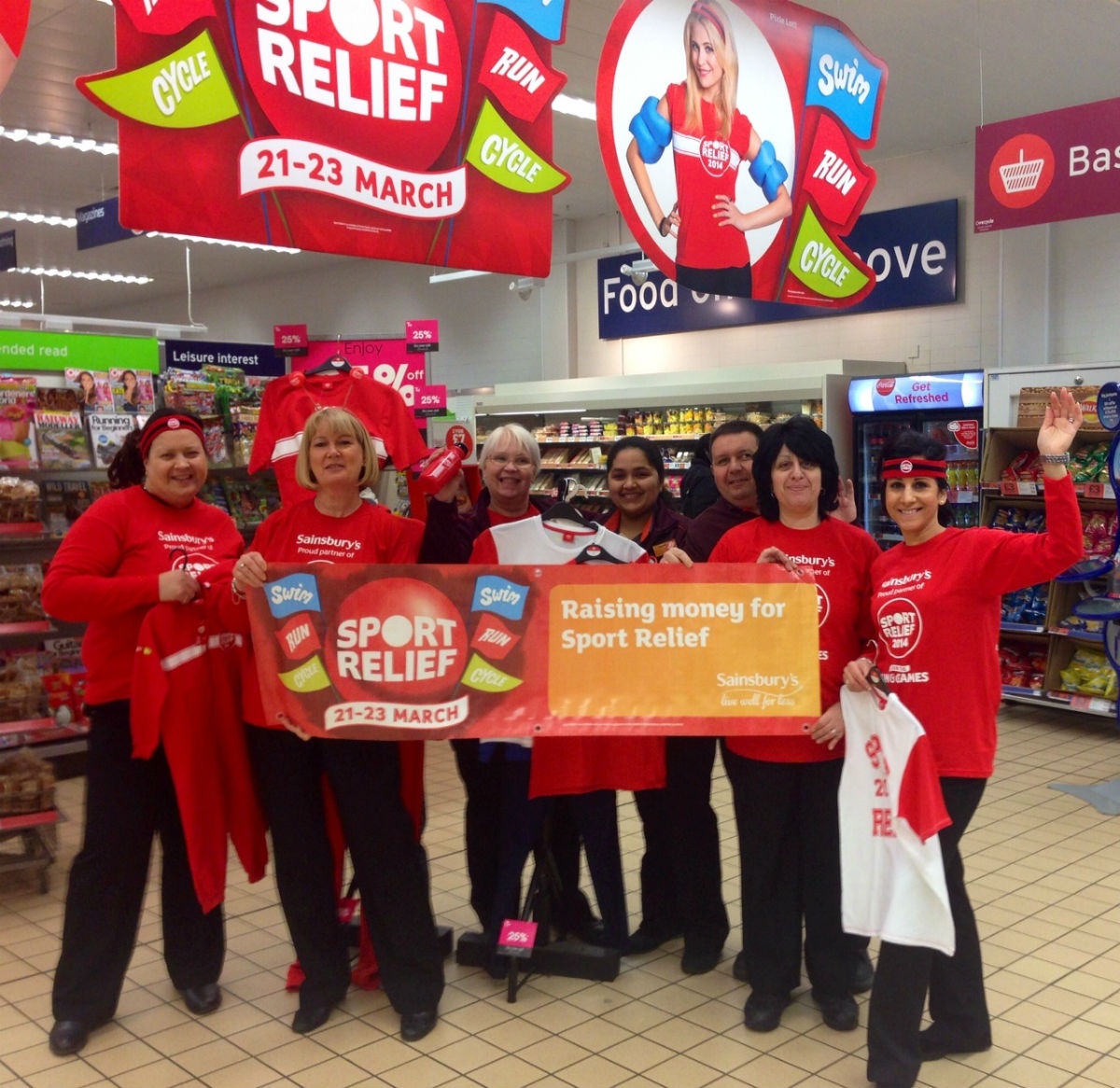Sainsbury's staff get ready for Sport Relief 2014.