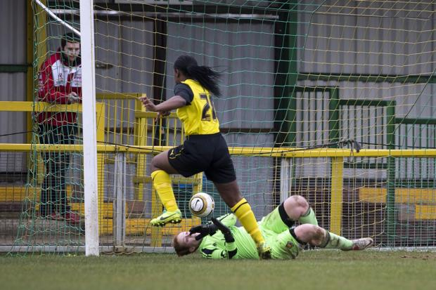 This Is Local London: Madga Mosengo nets Watford Ladies' fourth goal after coming off the bench. Picture: Andrew Rowland