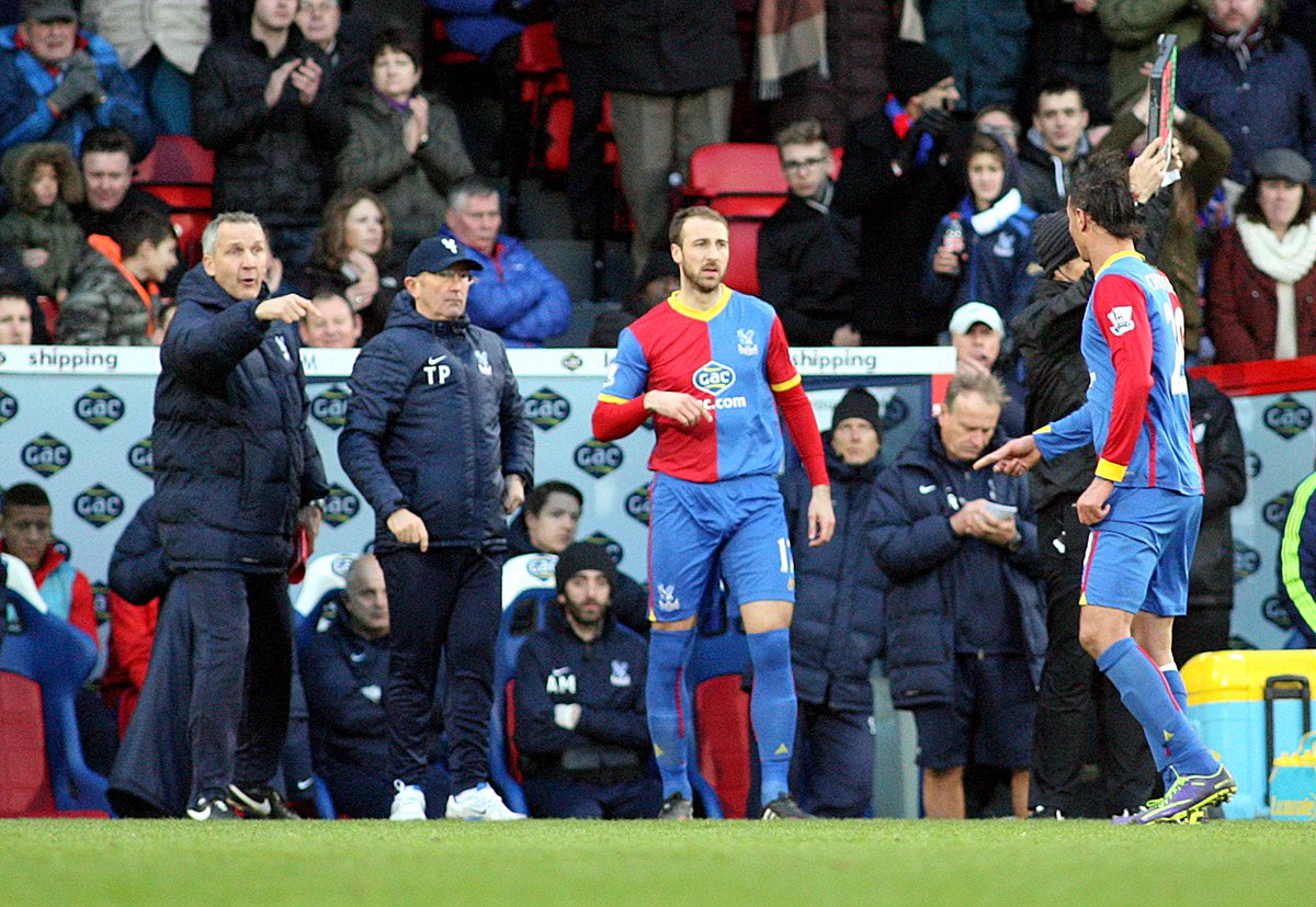 Economic: Glenn Murray did not waste any energy against Swansea City, hitting the target with every shot