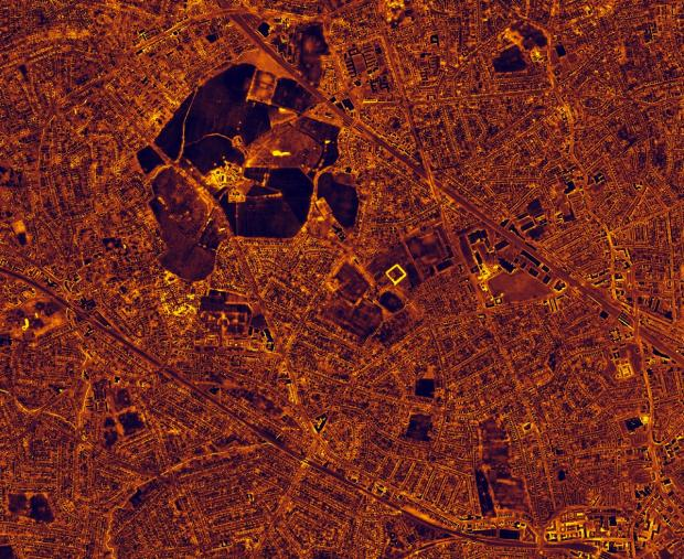 A thermal image of Harrow taken by the plane at night