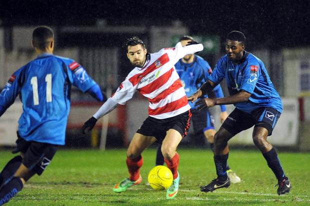 Winning strike: Ks striker Ryan Moss struck the decisive goal on Wednesday to fire his team in the Surrey Senior Cup quarter-finals