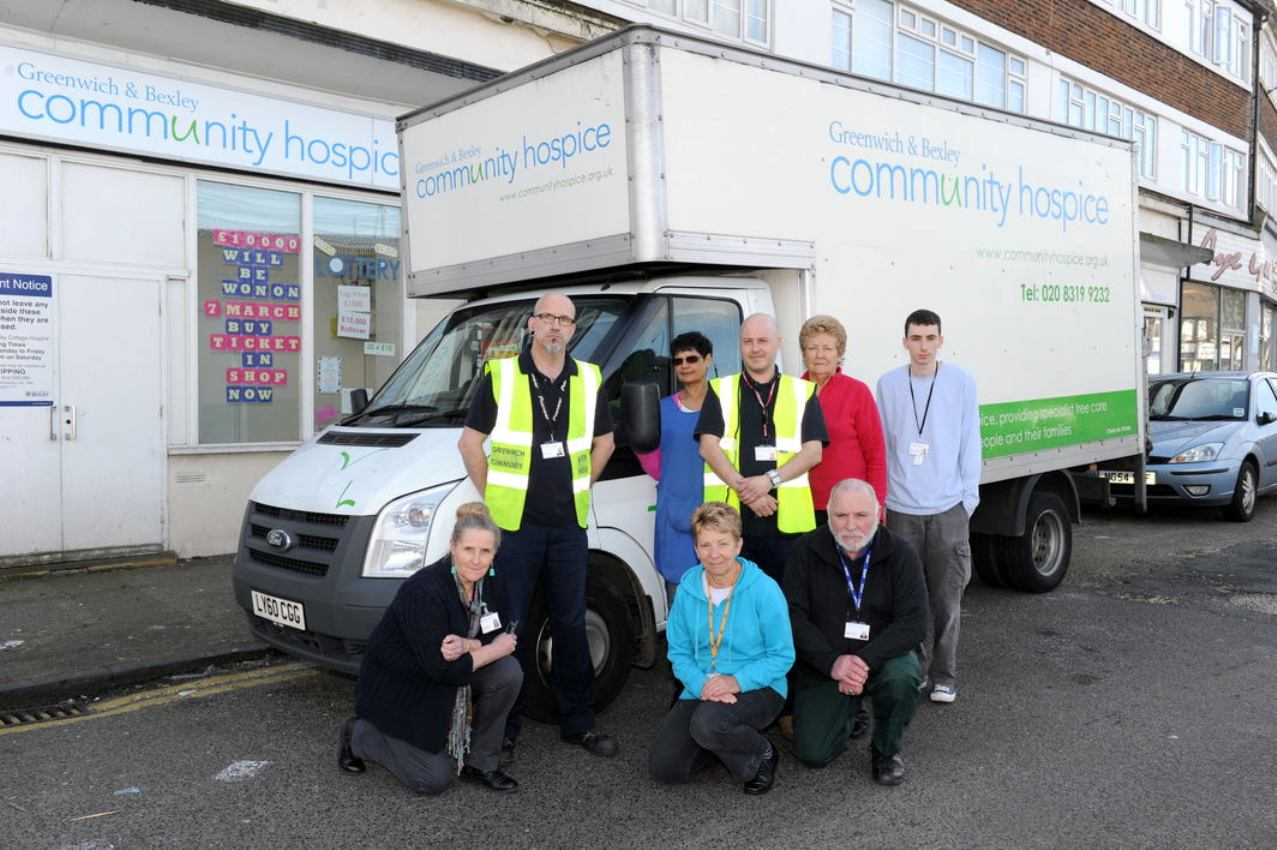 Staff at the Greenwich & Bexley Community Hospice's retail distribution centre at 12-15 Bellegrove Parade in Welling where the van was stolen from.