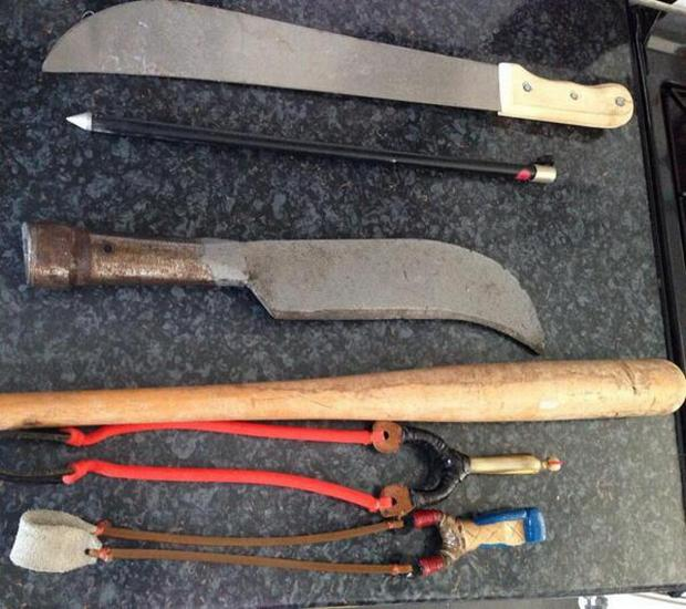 The weapons recovered from an address in Molash Road.