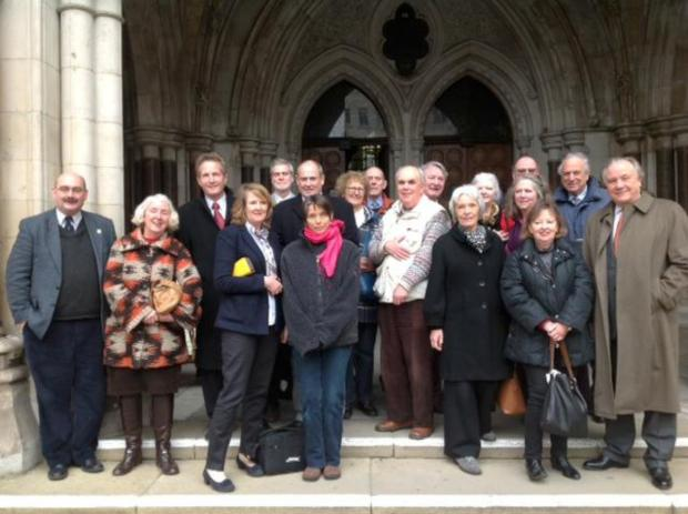 Campaigners outside the Royal Courts of Justice in March