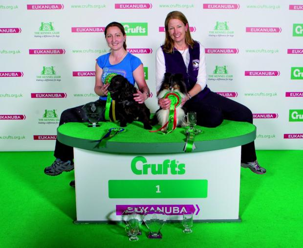 Photo: onEdition. Novice Cup agility small winner Lara Staplehurst from Epsom with Chloe and second place Bernadette Bay from West Sussex with Gizmo