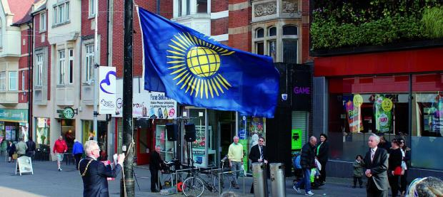 This Is Local London: The mayor Councillor Sean Brennan raised the flag of the Commonwealth this morning