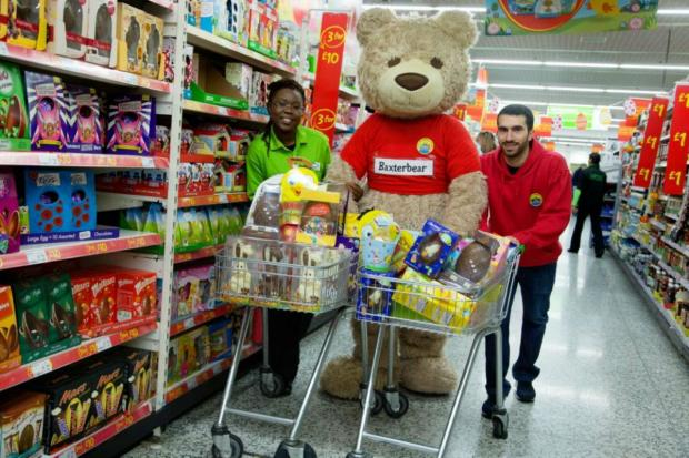 Baxterbear lends a helping hand with Noah's Ark Easter egg appeal at Asda in Southgate.