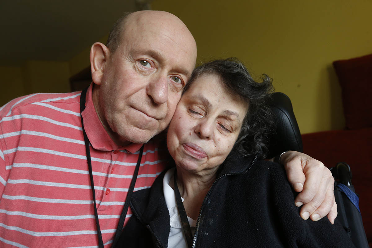 Steven and Elaine, pictured, say they live in an 'obstacle course of medical equipment'