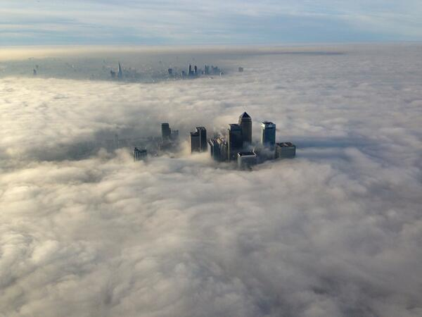 Canary Wharf surrounded by fog: Pic by the Met Police