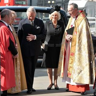 This Is Local London: The Prince of Wales and Duchess of Cornwall arrive to attend a service to celebrate the life of Sir David Frost at Westminster Abbey, London.