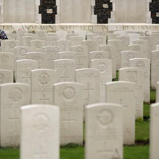 This Is Local London: Twenty soldiers were laid to rest at a service at the Commonwealth War Graves Commission Cemetery at Loos-en-Gohelle near Lens