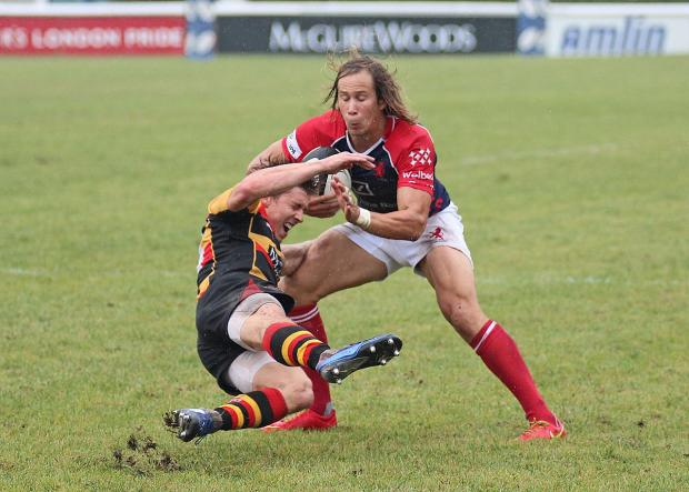 This Is Local London: Points machine: Scottish star James Love, in action against Richmond, scored two of his side's six tries against Ealing – a game which also featured braces for Miles Mantella and Mark Bright	SP78802
