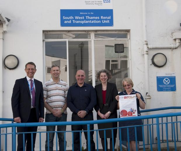 Left to right: Trust chief executive Matthew Hopkins, Dave Yateman, Spencer Moss, surgeon Sarah Heap and transplant co-ordinator Tracy Norton Smith