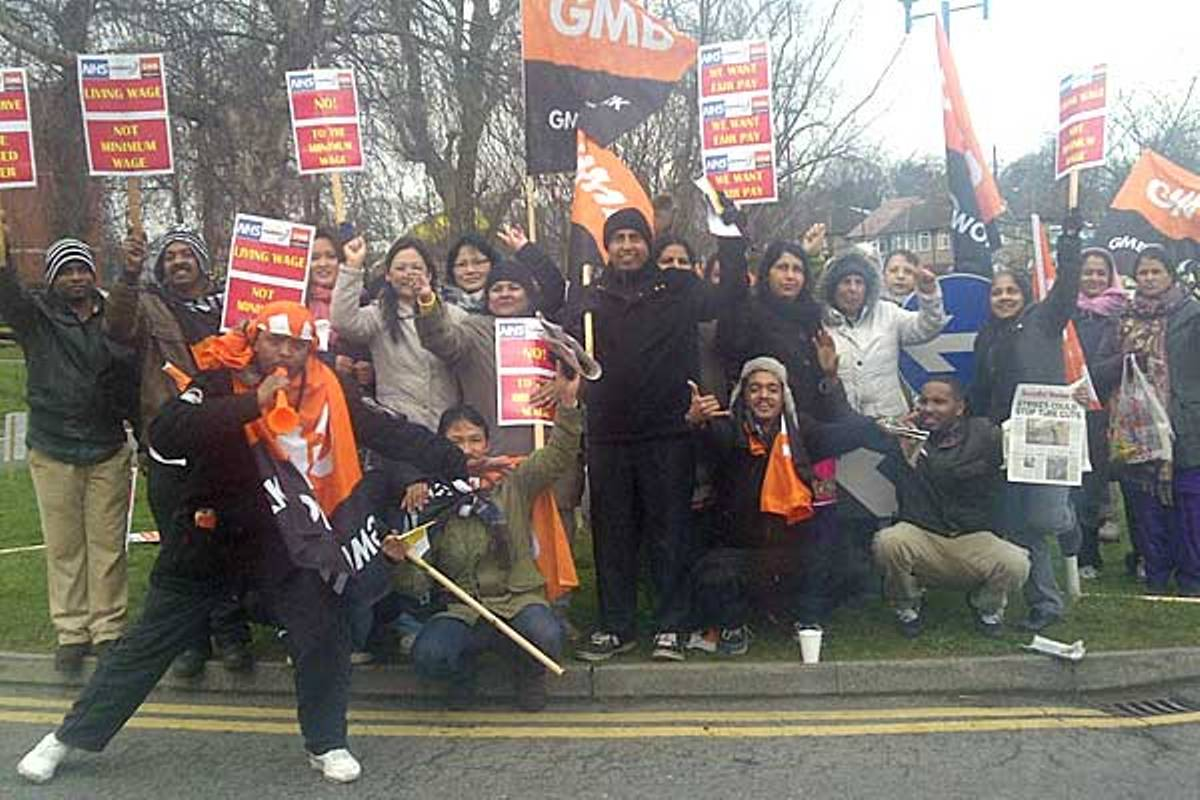 Picket line: Striking Medirest staff outside Ealing Hospital
