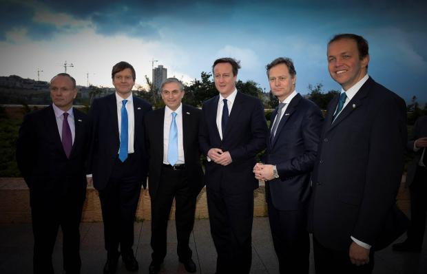 Mike Freer (left) and Matthew Offord (second from right) were invited to join the Prime Minister on his first official visit to Israel since entering office