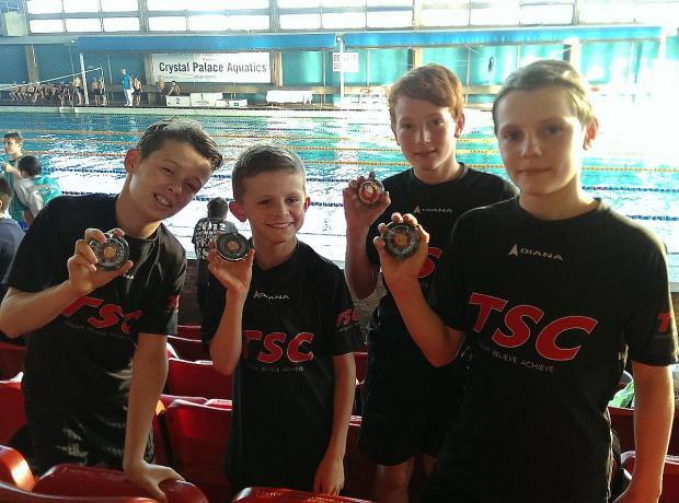 Golden boys: Teddington's victorious U11s  relay squad show off their medals at Crystal Palace
