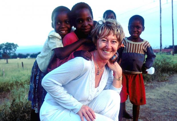 Fiona Jeffery on a previous visit to Ugan