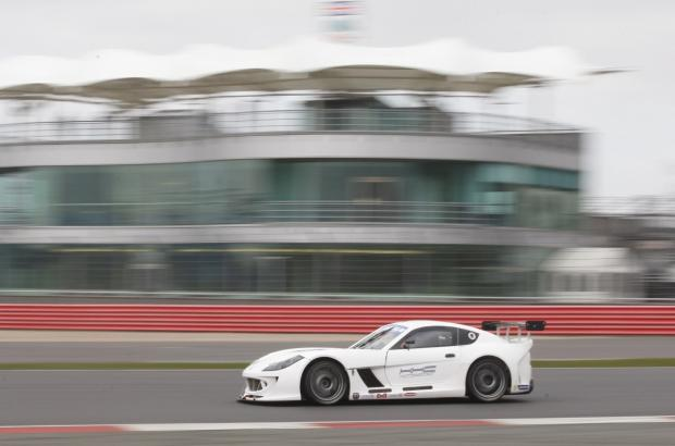 Life in the fast lane: Charlie Robertson test driving his 370bhp V6-engined Ginetta G55 at Silverstone
