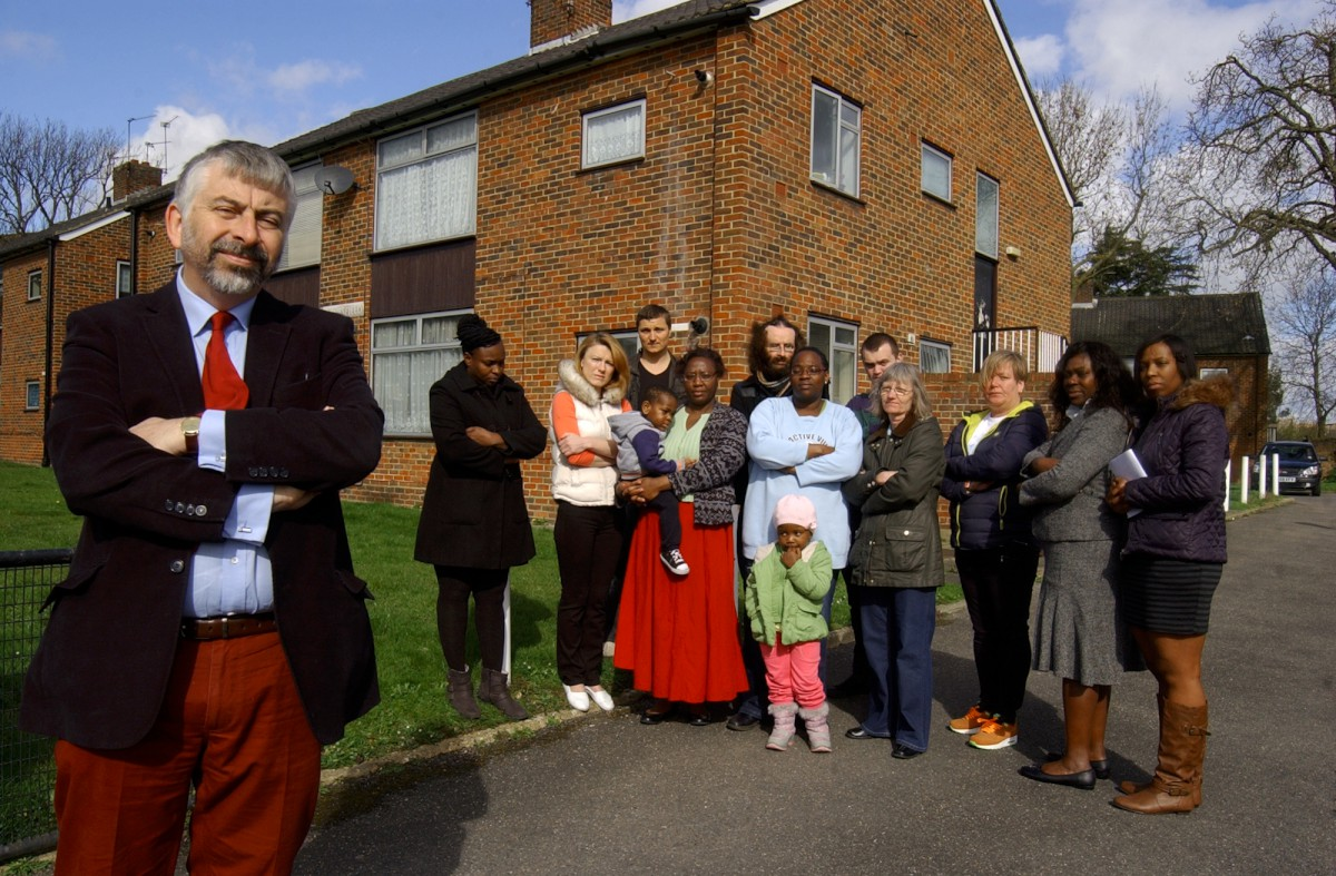 Fighting eviction: Councillor Andrew Judge and Raynesfield residents