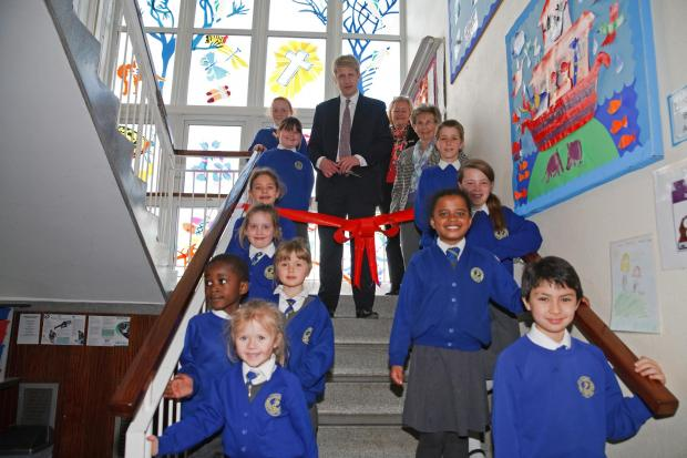 New window brings colour to school stairway - photo Keith Larby