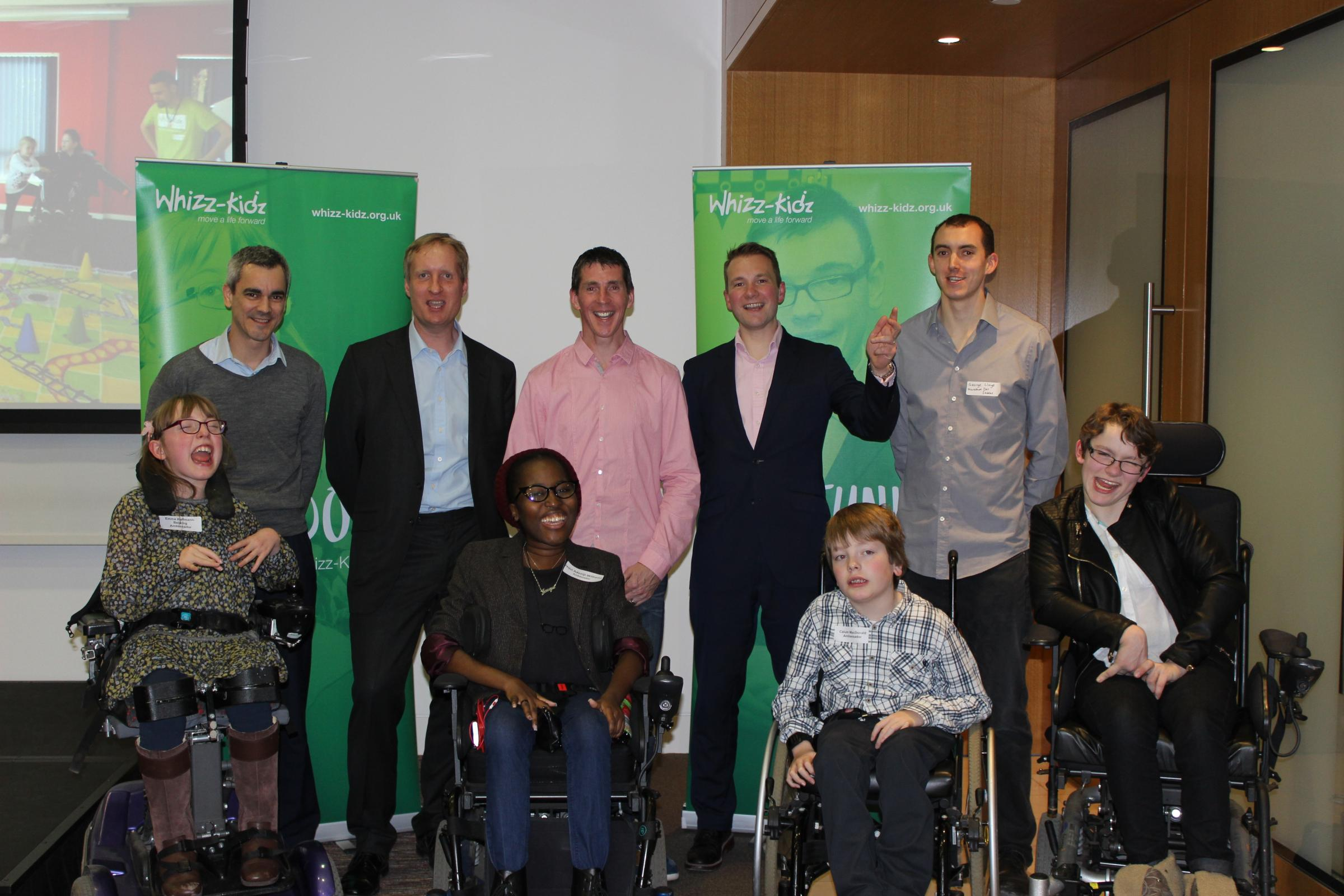 The five runners with Whizz-Kidz ambassadors