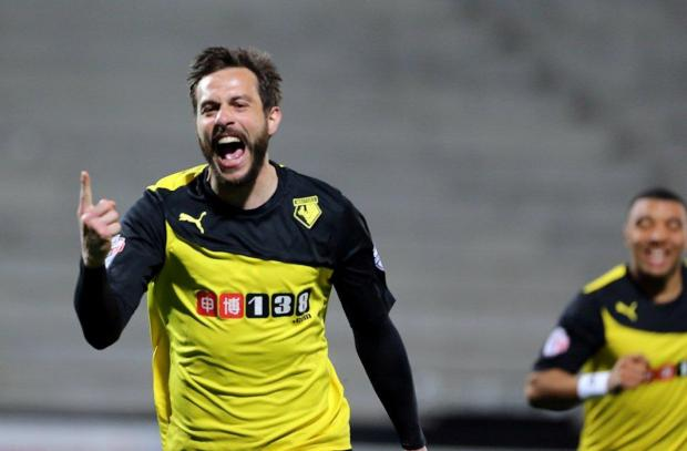 Marco Cassetti celebrates his first Watford goal. Picture: Dave Peters