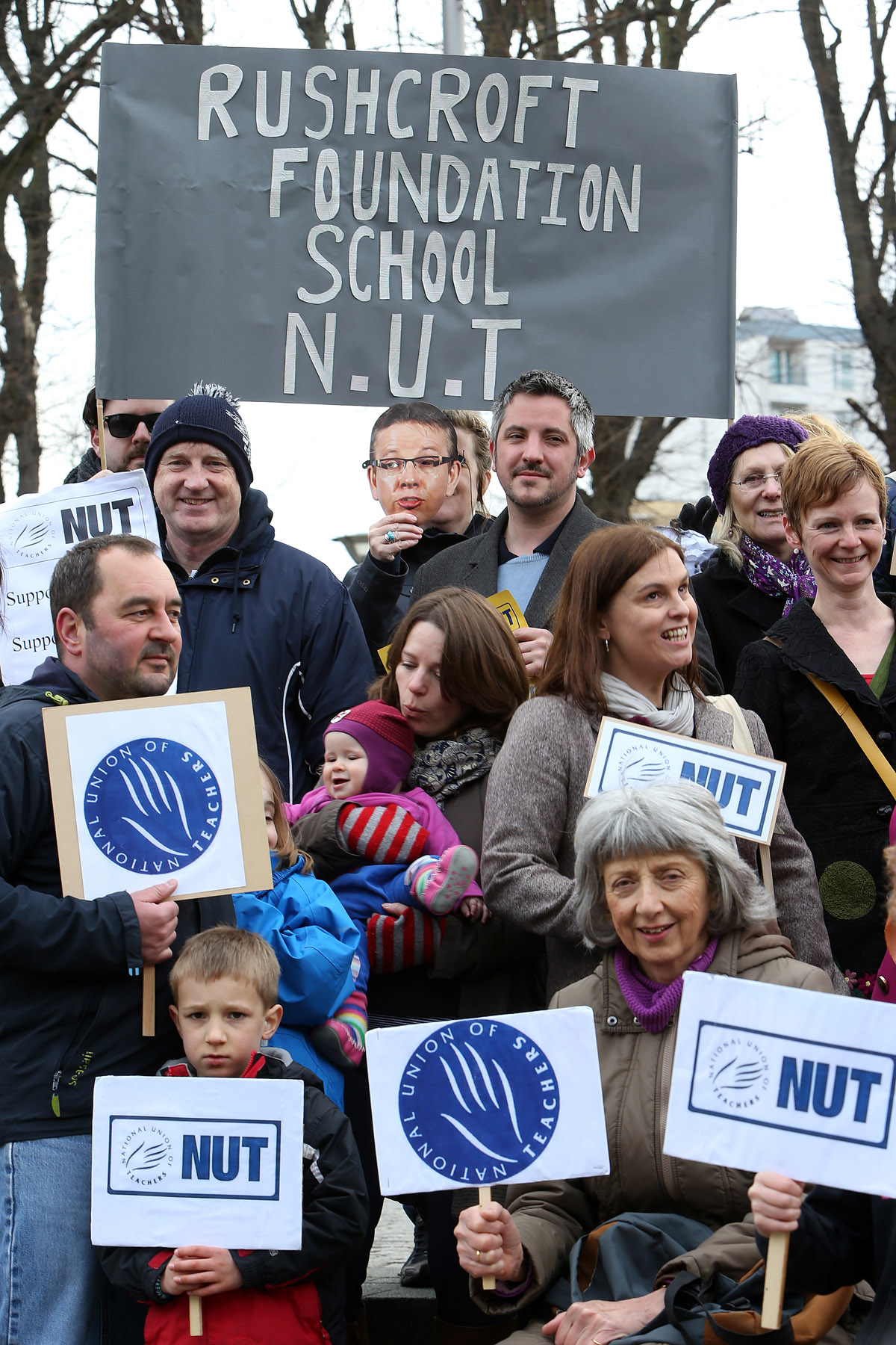 Teachers and supporters at a rally in Walthamstow Town Square this morning during the strike..