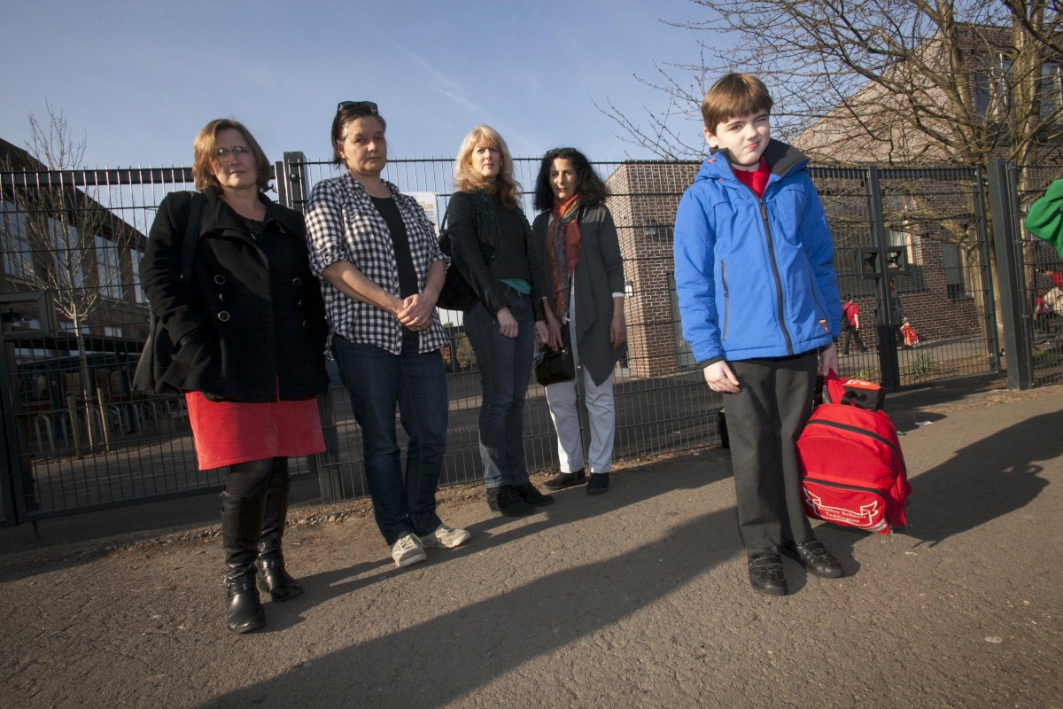 No school: Paula Muncey with son Alex, Karen Macwhinney, Rosie Hyde, Sharon Powell