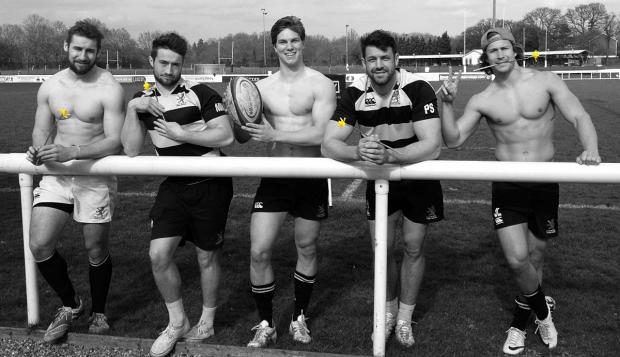 Beef on the bone: London Scottish stars Mike Doneghan, Miles Mantella, Tommy Spinks, Paul Spivey, and James Love promote Sunday's Ladies Day at the Athletic Ground.
