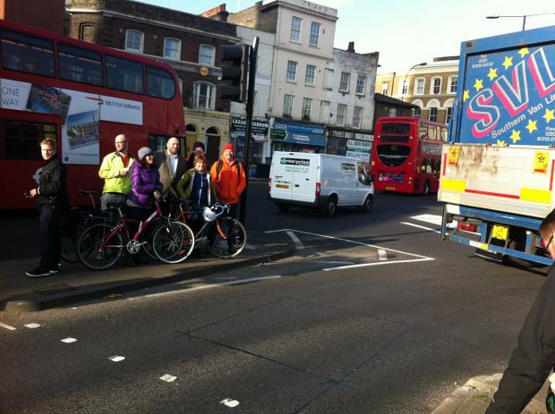 This Is Local London: Darren Johnson and cyclists brave Deptford's rush hour traffic
